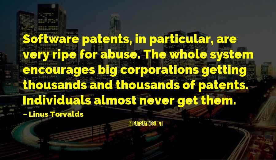 Scoopwhoop Sayings By Linus Torvalds: Software patents, in particular, are very ripe for abuse. The whole system encourages big corporations