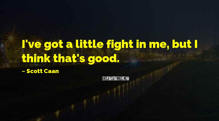 Scott Caan Sayings: I've got a little fight in me, but I think that's good.