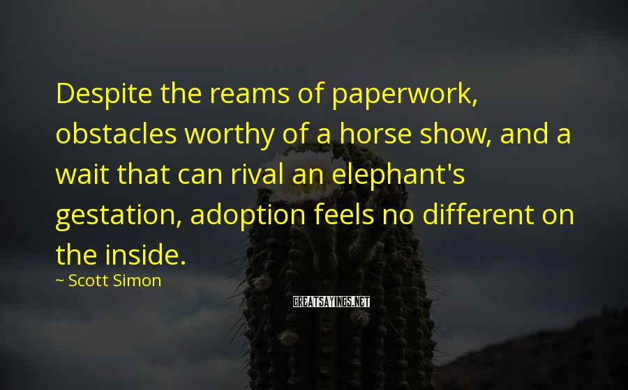 Scott Simon Sayings: Despite the reams of paperwork, obstacles worthy of a horse show, and a wait that