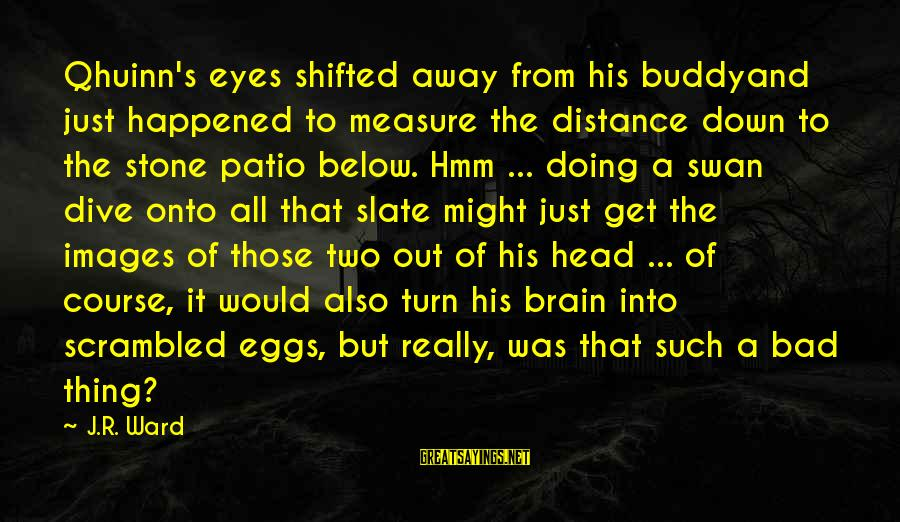 Scrambled Eggs Sayings By J.R. Ward: Qhuinn's eyes shifted away from his buddyand just happened to measure the distance down to