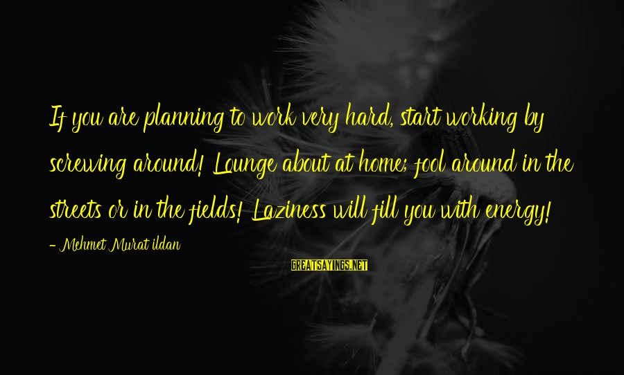 Screwing Around Sayings By Mehmet Murat Ildan: If you are planning to work very hard, start working by screwing around! Lounge about