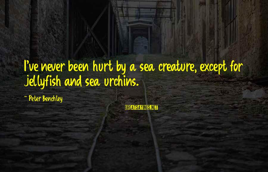 Sea Creature Sayings By Peter Benchley: I've never been hurt by a sea creature, except for jellyfish and sea urchins.