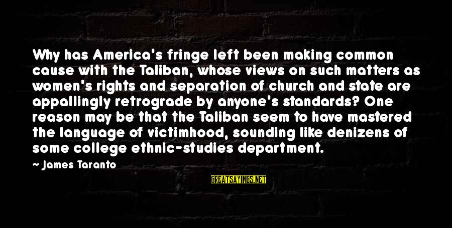 Seamus Harper Sayings By James Taranto: Why has America's fringe left been making common cause with the Taliban, whose views on