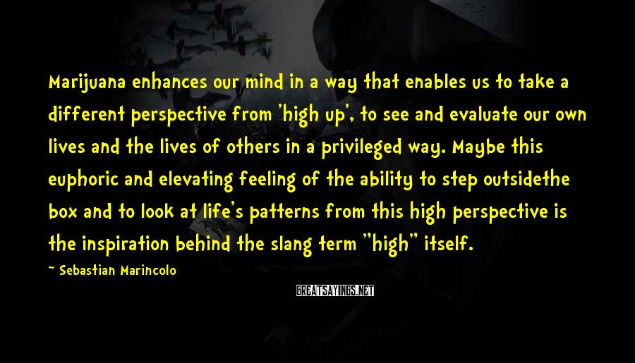Sebastian Marincolo Sayings: Marijuana enhances our mind in a way that enables us to take a different perspective