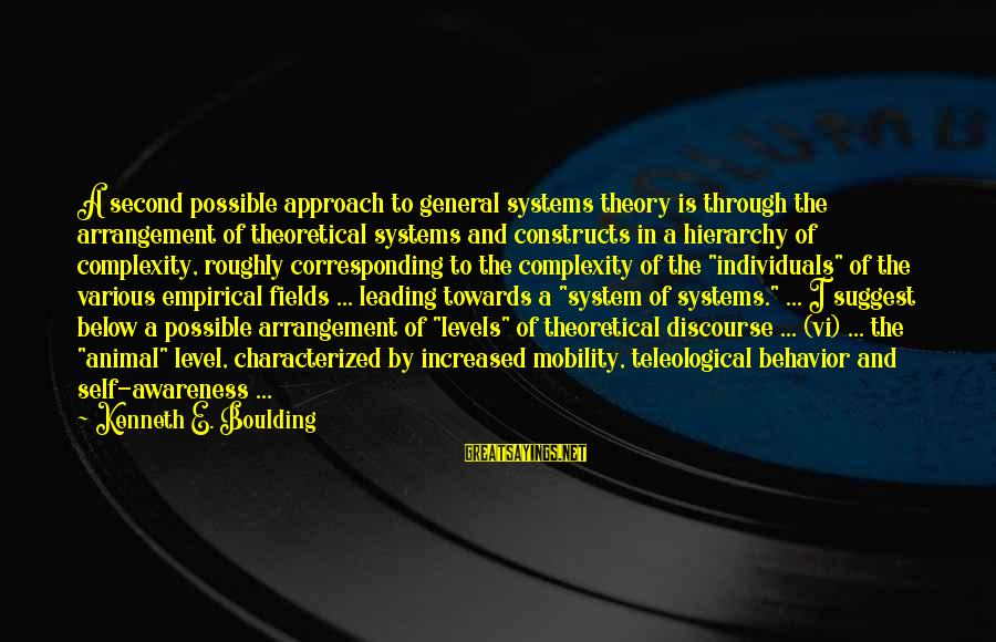 Second Discourse Sayings By Kenneth E. Boulding: A second possible approach to general systems theory is through the arrangement of theoretical systems