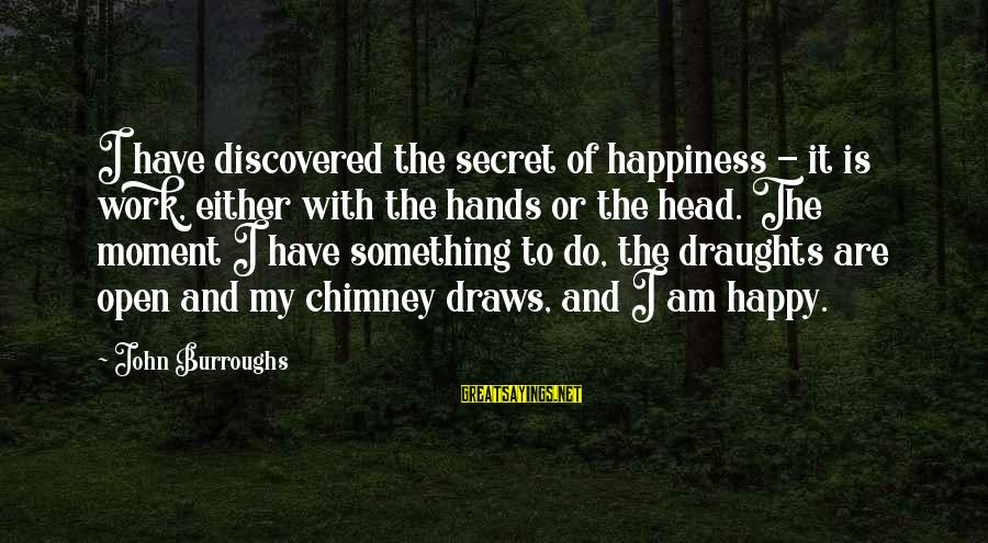 Secret Of Happiness Sayings By John Burroughs: I have discovered the secret of happiness - it is work, either with the hands