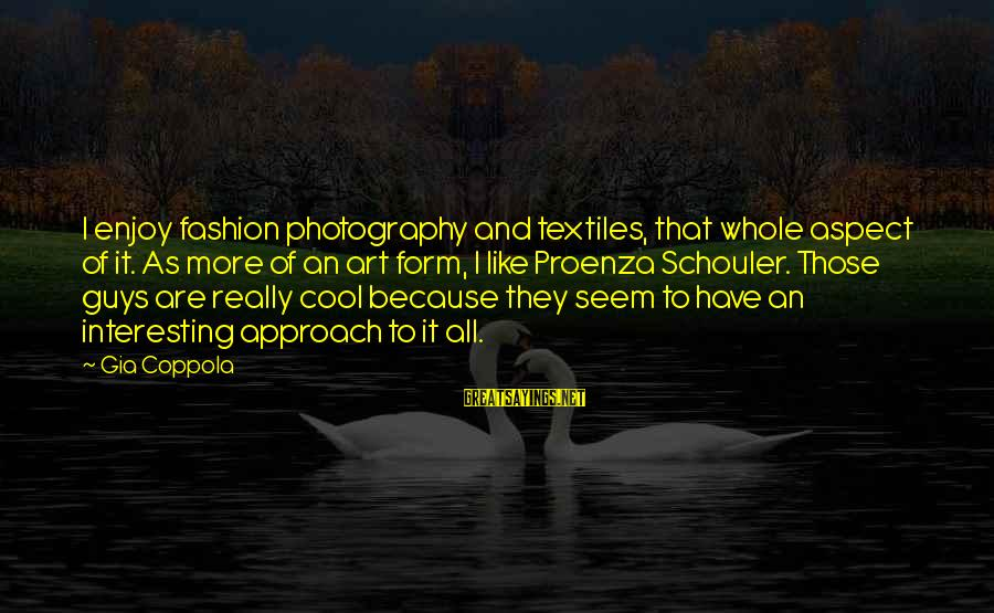 Seem Like Sayings By Gia Coppola: I enjoy fashion photography and textiles, that whole aspect of it. As more of an