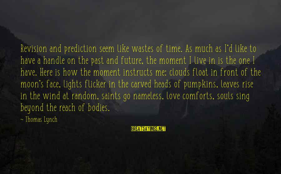 Seem Like Sayings By Thomas Lynch: Revision and prediction seem like wastes of time. As much as I'd like to have