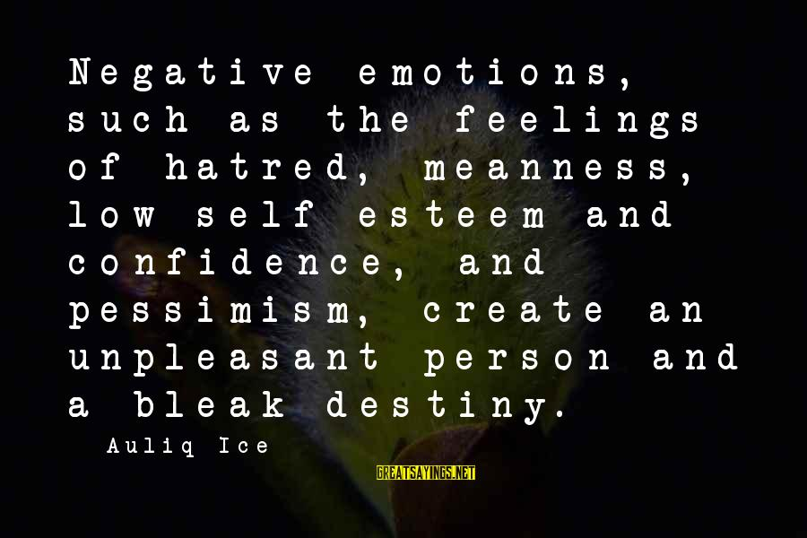 Self Esteem And Confidence Sayings By Auliq Ice: Negative emotions, such as the feelings of hatred, meanness, low self-esteem and confidence, and pessimism,