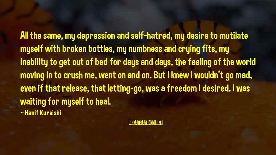 Self Heal Sayings By Hanif Kureishi: All the same, my depression and self-hatred, my desire to mutilate myself with broken bottles,