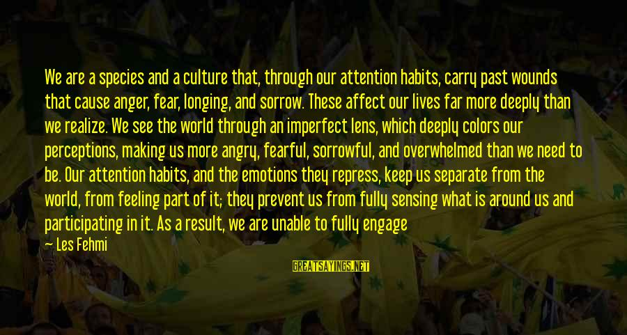Sensing Sayings By Les Fehmi: We are a species and a culture that, through our attention habits, carry past wounds