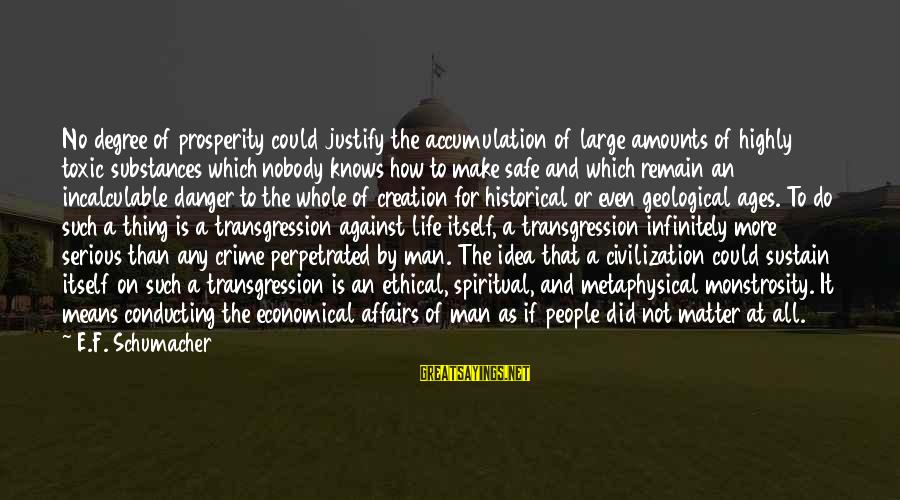 Serious People Sayings By E.F. Schumacher: No degree of prosperity could justify the accumulation of large amounts of highly toxic substances