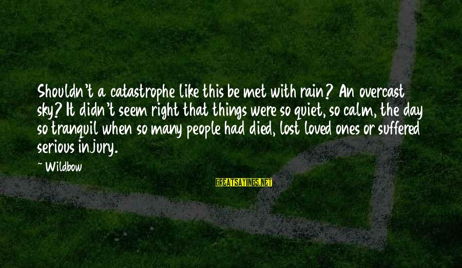 Serious People Sayings By Wildbow: Shouldn't a catastrophe like this be met with rain? An overcast sky? It didn't seem