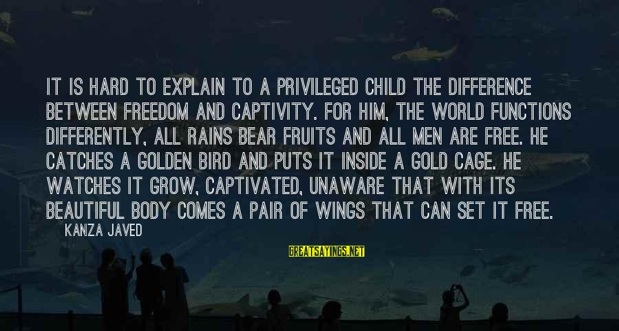 Set Him Free Sayings By Kanza Javed: It is hard to explain to a privileged child the difference between freedom and captivity.