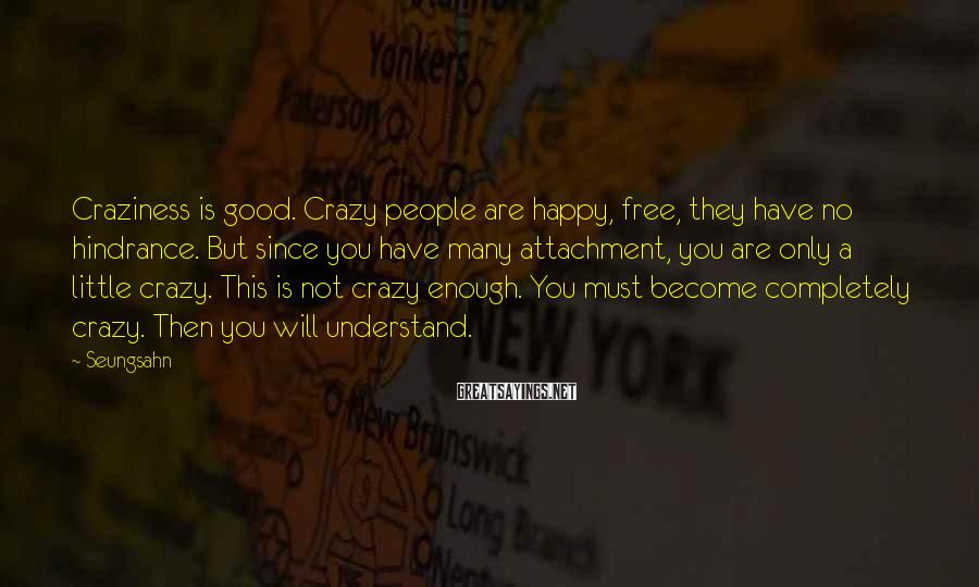 Seungsahn Sayings: Craziness is good. Crazy people are happy, free, they have no hindrance. But since you