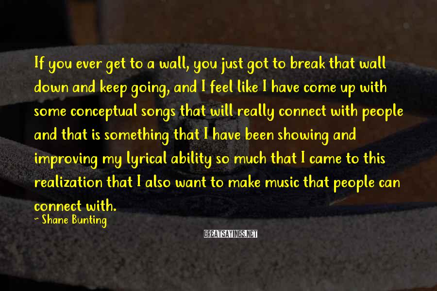 Shane Bunting Sayings: If you ever get to a wall, you just got to break that wall down