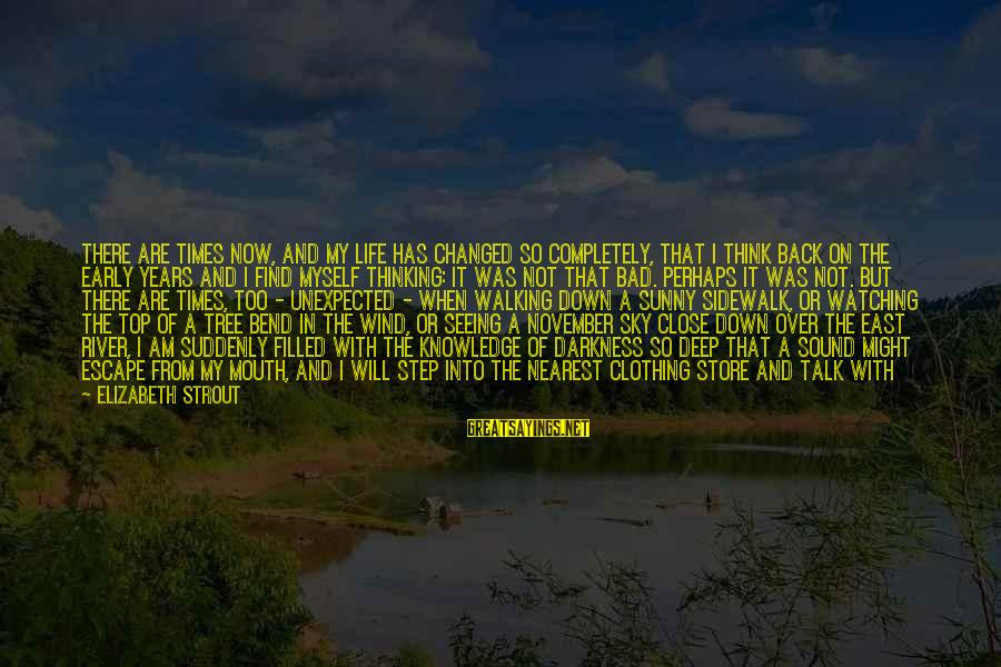 Shape Life Sayings By Elizabeth Strout: There are times now, and my life has changed so completely, that I think back