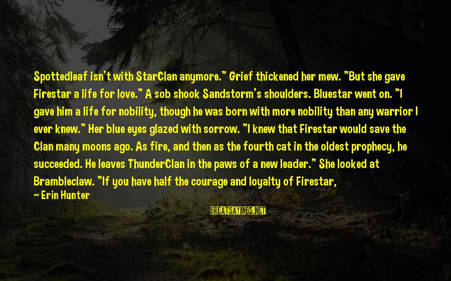 """Shape Life Sayings By Erin Hunter: Spottedleaf isn't with StarClan anymore."""" Grief thickened her mew. """"But she gave Firestar a life"""