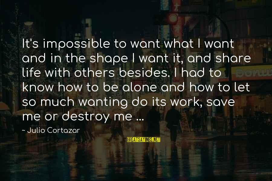 Shape Life Sayings By Julio Cortazar: It's impossible to want what I want and in the shape I want it, and