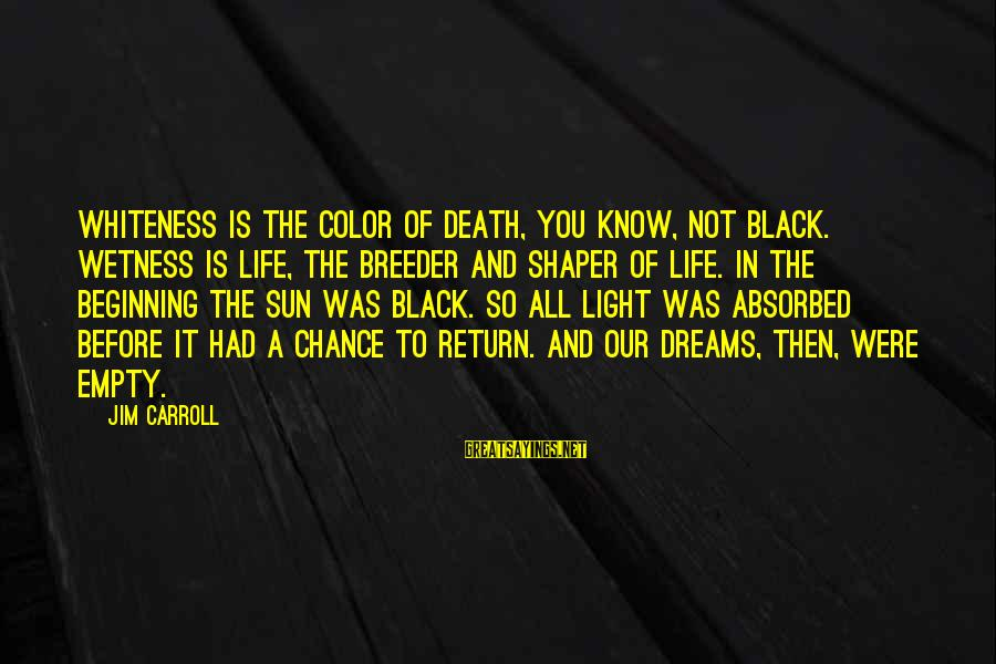 Shaper Sayings By Jim Carroll: Whiteness is the color of death, you know, not black. Wetness is life, the breeder
