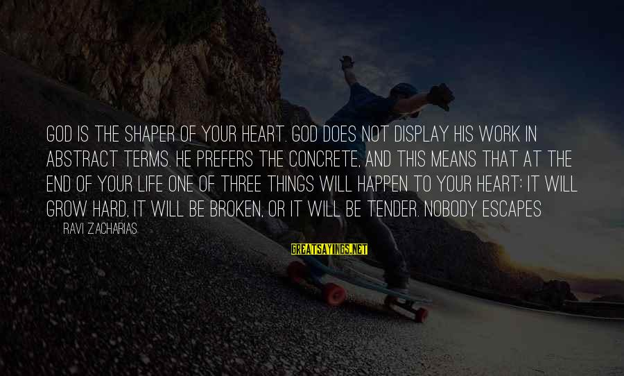 Shaper Sayings By Ravi Zacharias: God is the shaper of your heart. God does not display his work in abstract