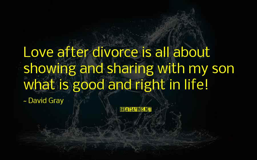 Sharing Life And Love Sayings By David Gray: Love after divorce is all about showing and sharing with my son what is good