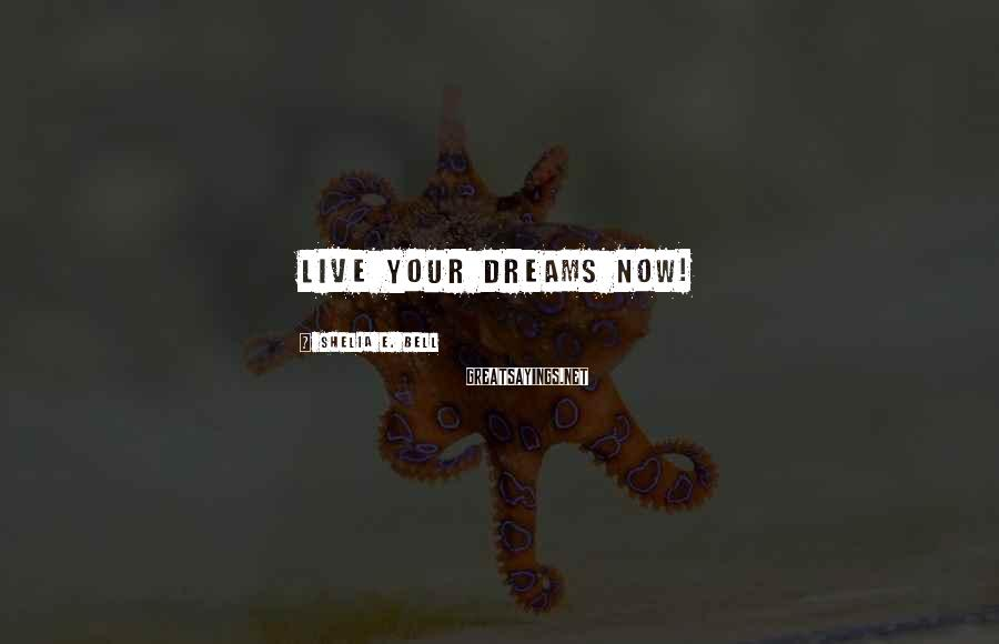 Shelia E. Bell Sayings: Live your dreams now!
