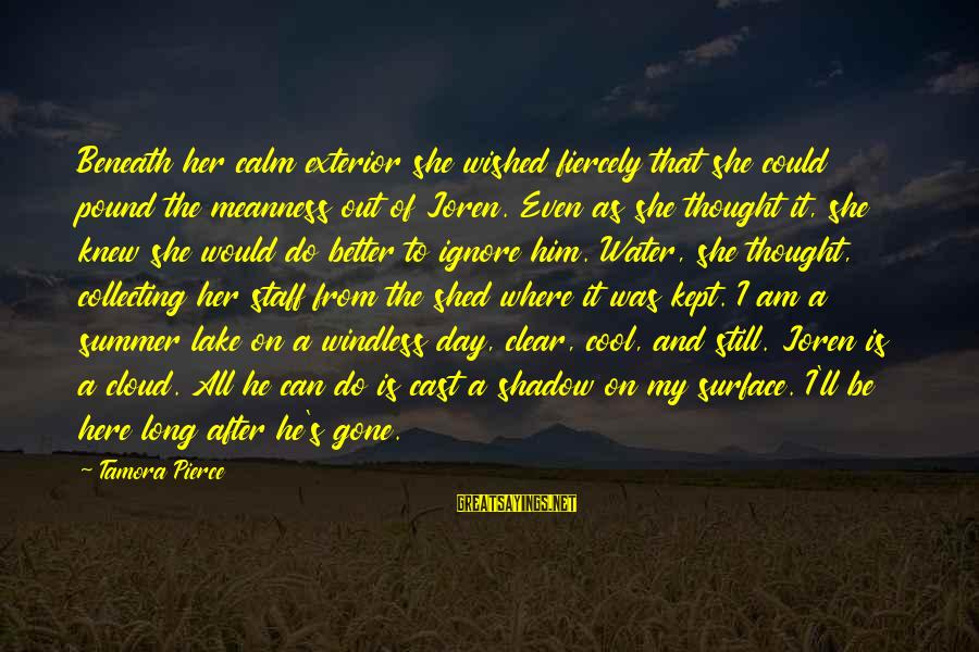 She's Long Gone Sayings By Tamora Pierce: Beneath her calm exterior she wished fiercely that she could pound the meanness out of