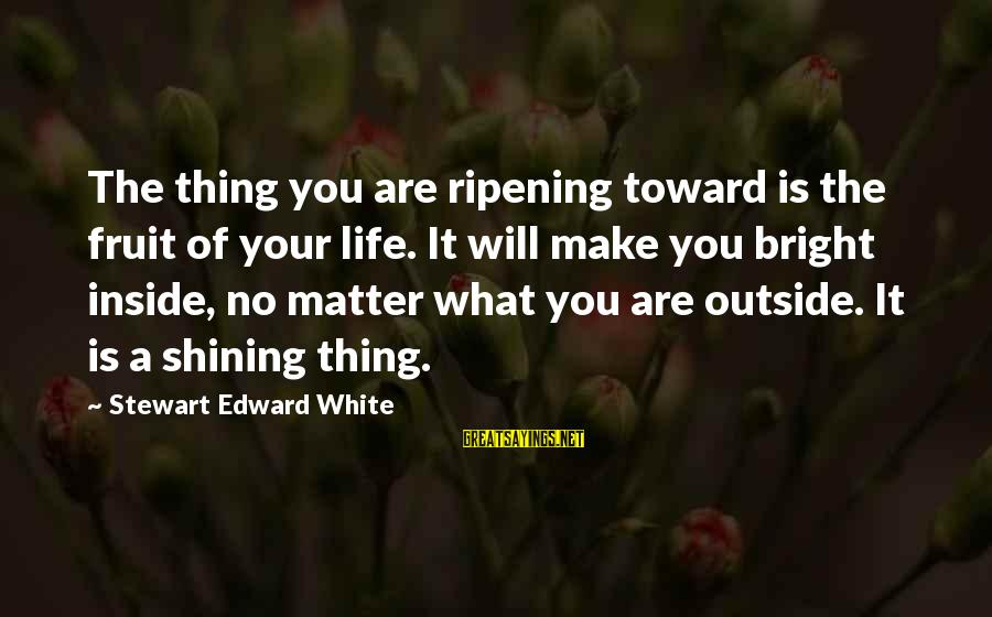Shining Bright Sayings By Stewart Edward White: The thing you are ripening toward is the fruit of your life. It will make