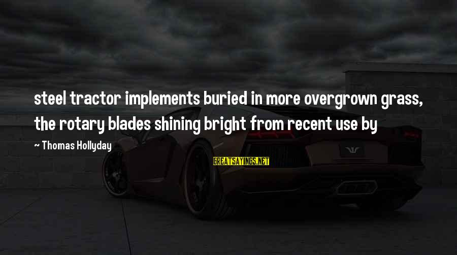 Shining Bright Sayings By Thomas Hollyday: steel tractor implements buried in more overgrown grass, the rotary blades shining bright from recent