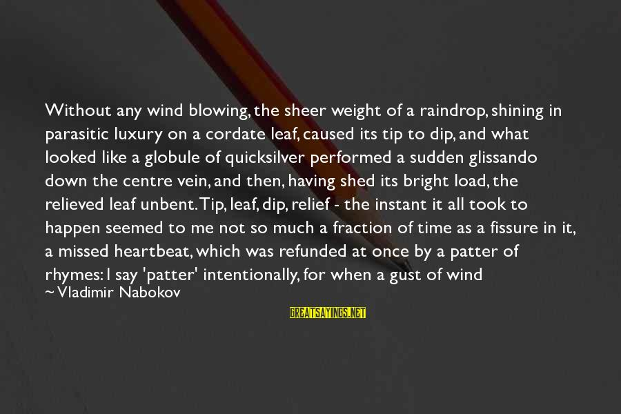 Shining Bright Sayings By Vladimir Nabokov: Without any wind blowing, the sheer weight of a raindrop, shining in parasitic luxury on