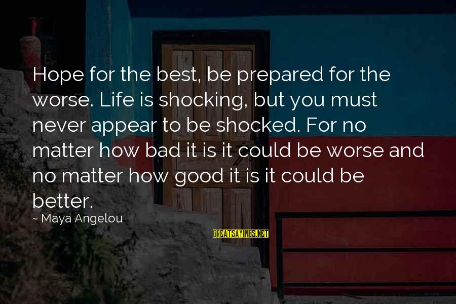 Shocking Sayings By Maya Angelou: Hope for the best, be prepared for the worse. Life is shocking, but you must