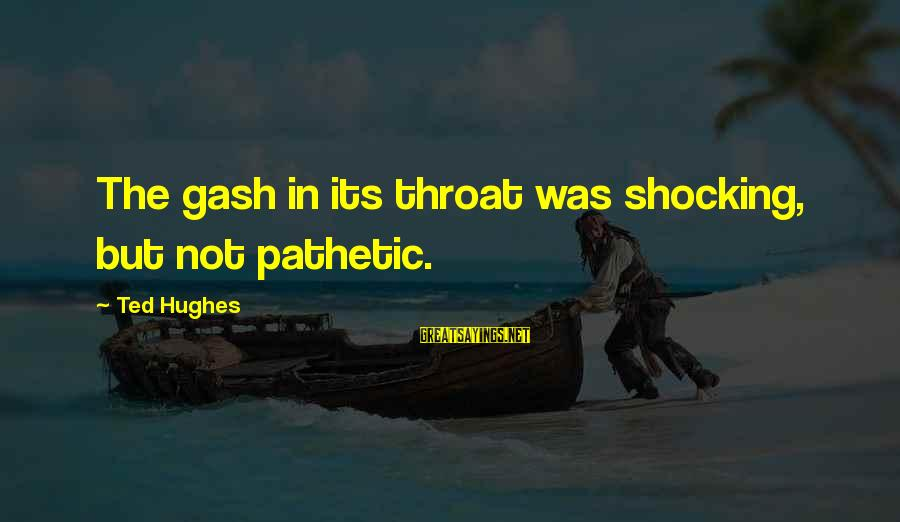 Shocking Sayings By Ted Hughes: The gash in its throat was shocking, but not pathetic.