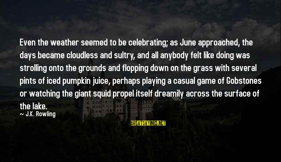 Short Funny Pub Sayings By J.K. Rowling: Even the weather seemed to be celebrating; as June approached, the days became cloudless and