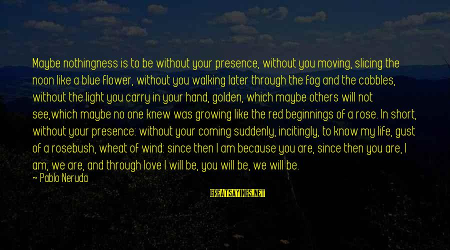 Short See You Later Sayings By Pablo Neruda: Maybe nothingness is to be without your presence, without you moving, slicing the noon like