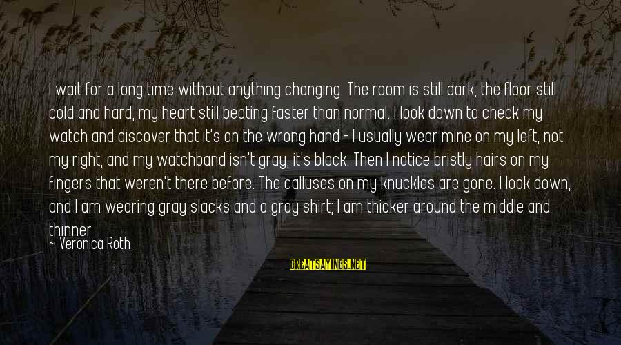 Shoulders Back Sayings By Veronica Roth: I wait for a long time without anything changing. The room is still dark, the
