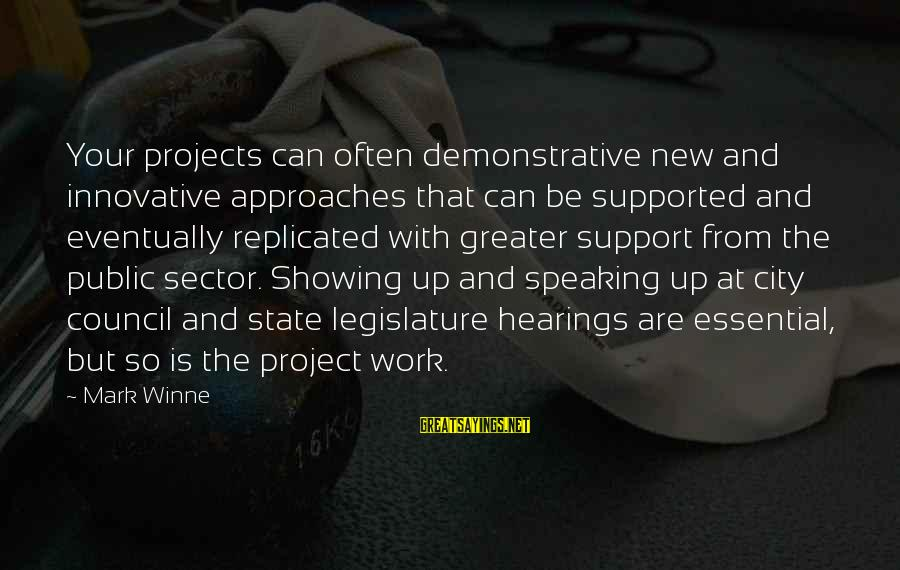 Showing Support Sayings By Mark Winne: Your projects can often demonstrative new and innovative approaches that can be supported and eventually