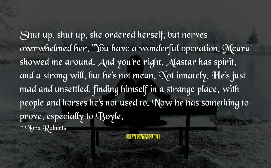 """Shut Up And Sayings By Nora Roberts: Shut up, shut up, she ordered herself, but nerves overwhelmed her. """"You have a wonderful"""