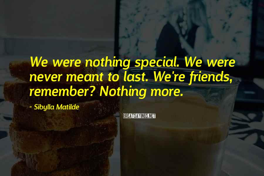Sibylla Matilde Sayings: We were nothing special. We were never meant to last. We're friends, remember? Nothing more.