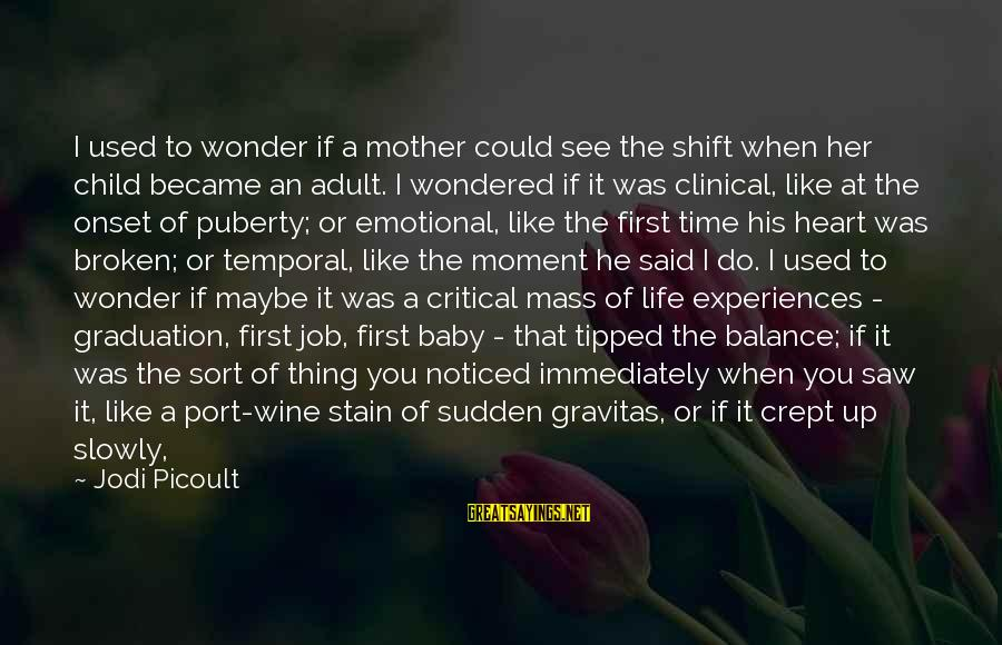 Side Mirror Sayings By Jodi Picoult: I used to wonder if a mother could see the shift when her child became
