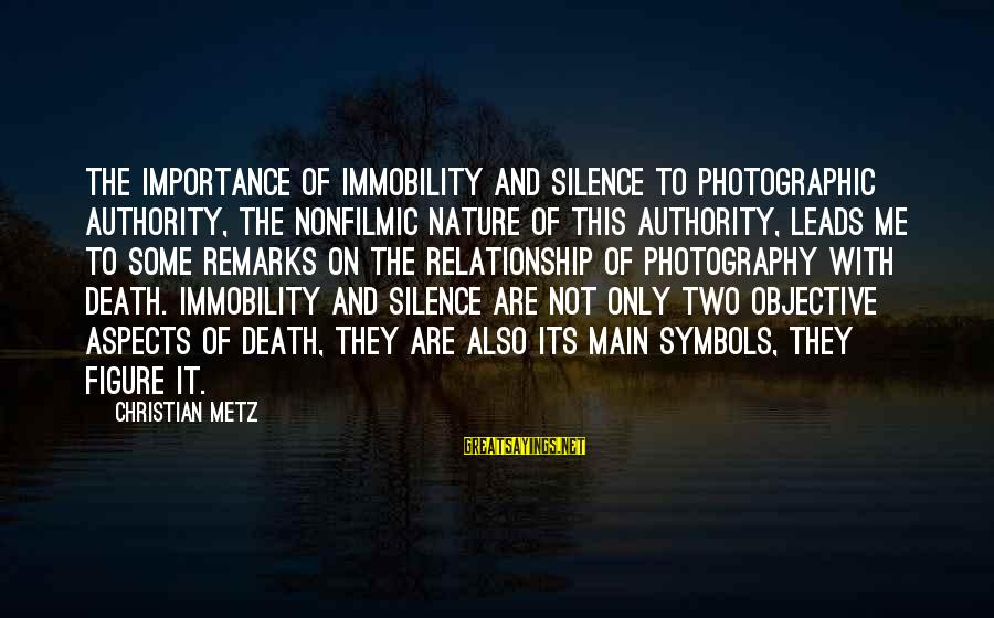 Silence And Death Sayings By Christian Metz: The importance of immobility and silence to photographic authority, the nonfilmic nature of this authority,