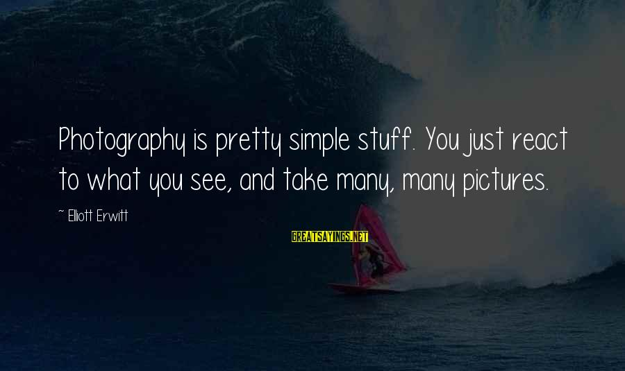 Simple Pretty Sayings By Elliott Erwitt: Photography is pretty simple stuff. You just react to what you see, and take many,