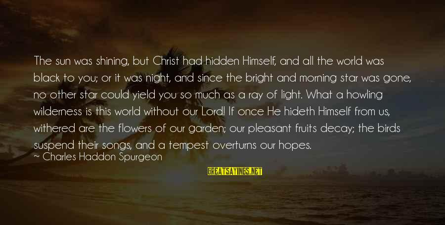 Since You've Gone Sayings By Charles Haddon Spurgeon: The sun was shining, but Christ had hidden Himself, and all the world was black