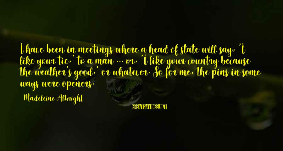 Sinning Is Fun Sayings By Madeleine Albright: I have been in meetings where a head of state will say, 'I like your