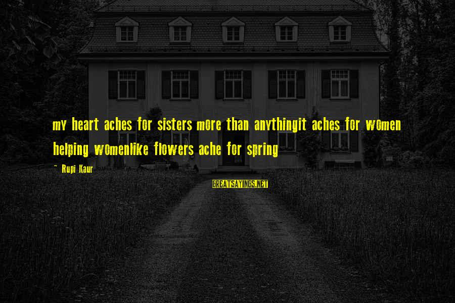 Sisters From The Heart Sayings By Rupi Kaur: my heart aches for sisters more than anythingit aches for women helping womenlike flowers ache
