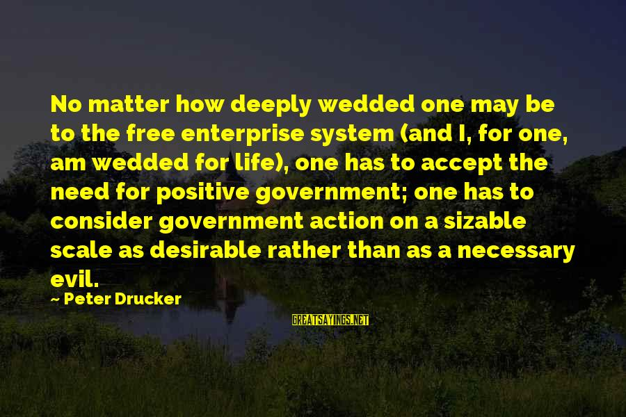 Sizable Sayings By Peter Drucker: No matter how deeply wedded one may be to the free enterprise system (and I,