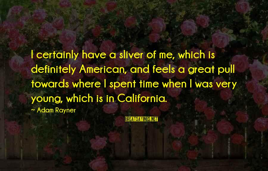 Sliver Sayings By Adam Rayner: I certainly have a sliver of me, which is definitely American, and feels a great
