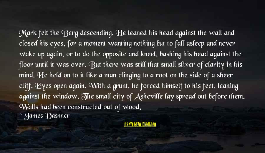 Sliver Sayings By James Dashner: Mark felt the Berg descending. He leaned his head against the wall and closed his