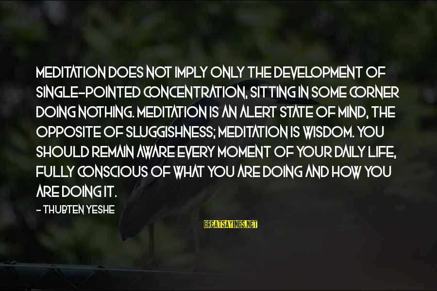 Sluggishness Sayings By Thubten Yeshe: Meditation does not imply only the development of single-pointed concentration, sitting in some corner doing