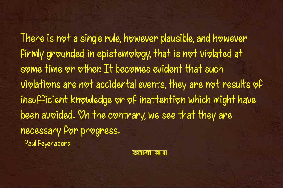 Smarttext Sayings By Paul Feyerabend: There is not a single rule, however plausible, and however firmly grounded in epistemology, that